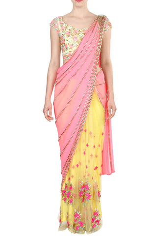 Yellow & Pink Prestitched Saree Front