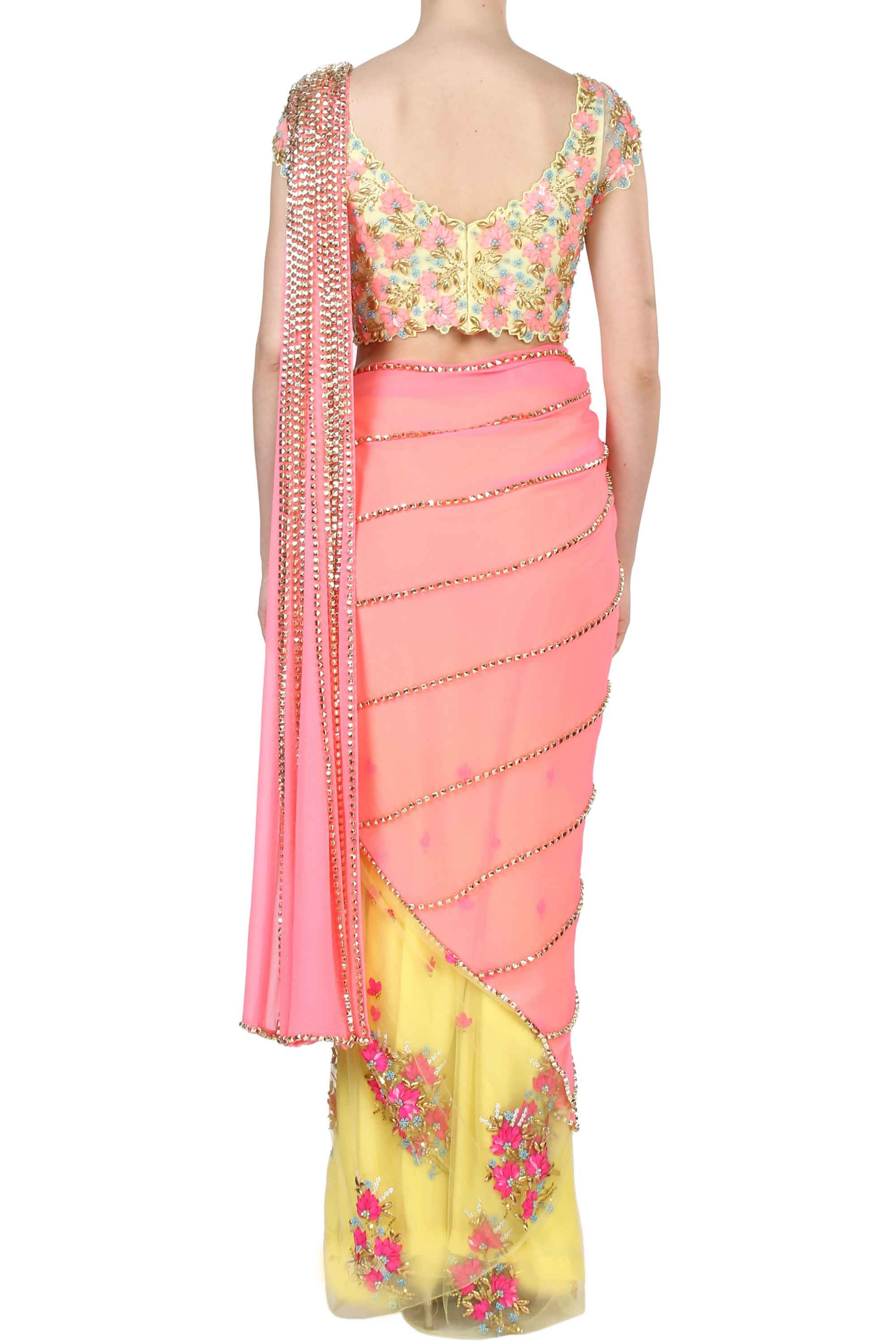 Yellow & Pink Prestitched Saree Back