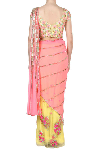 Yellow & Pink Pre Stitched Saree