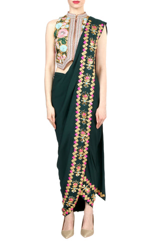 Dark Green Dhoti Saree Front