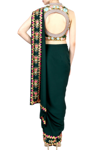 Dark Green Dhoti Saree