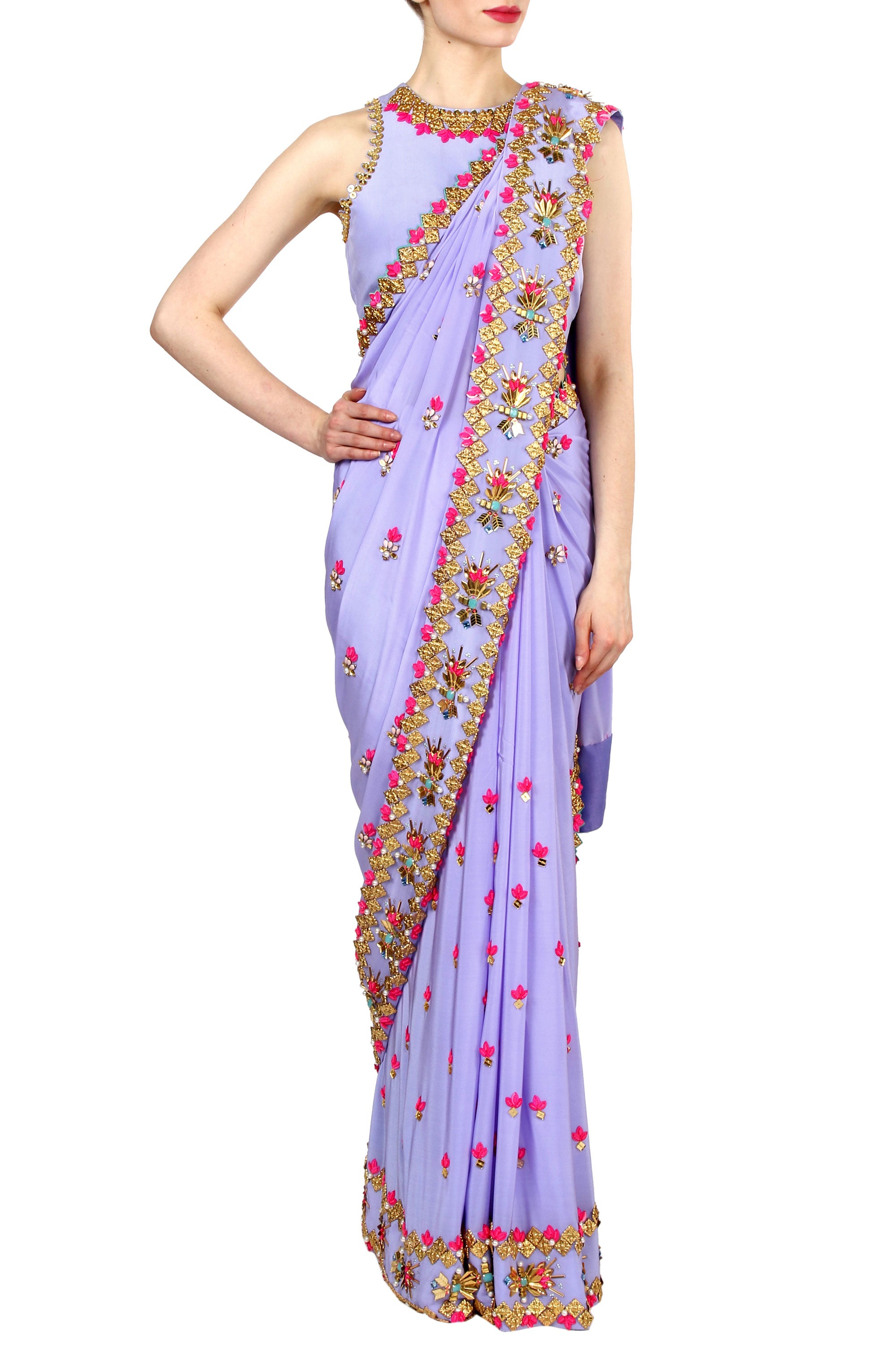 Periwinkle Lilac Saree Front