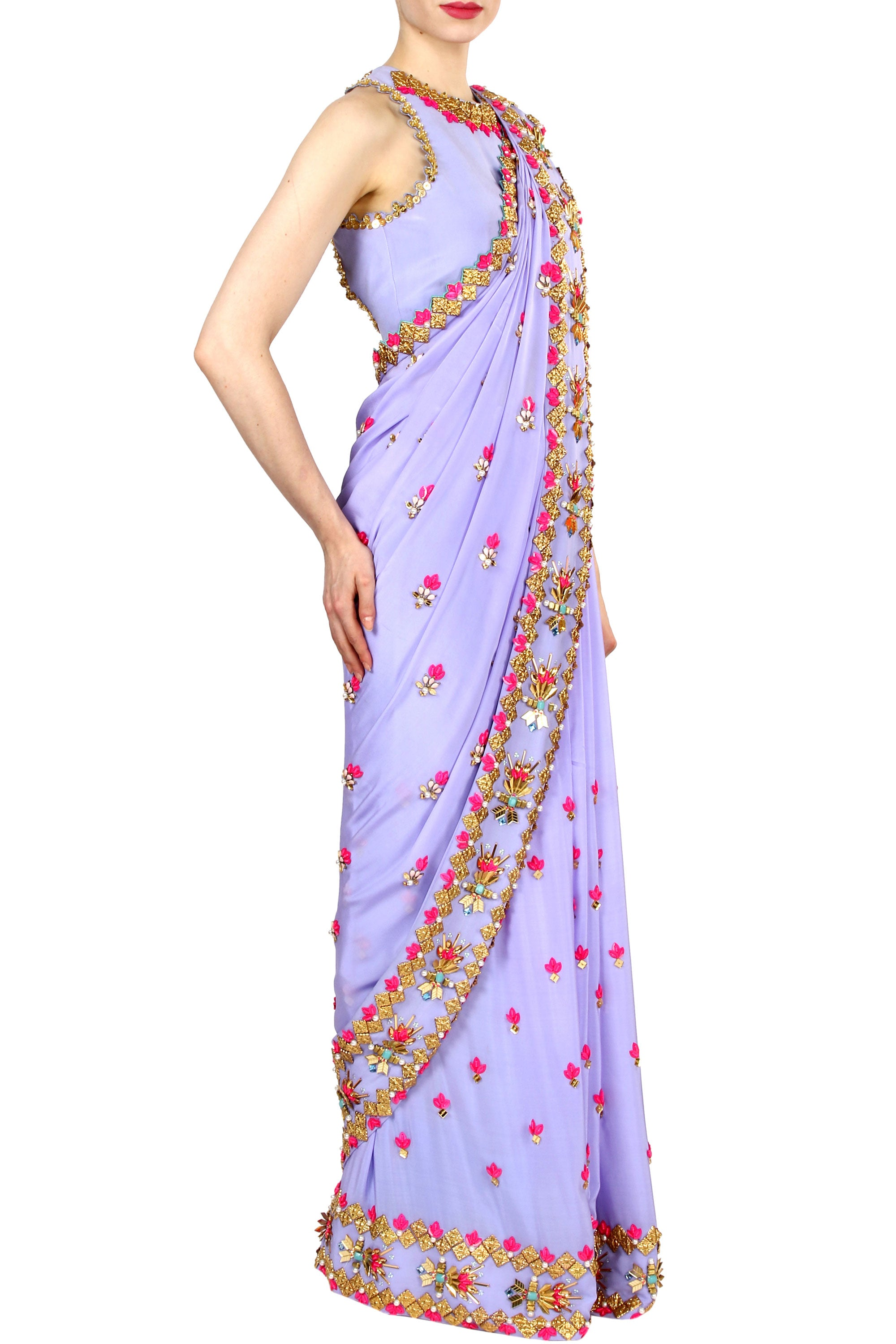 Periwinkle Lilac Saree Side