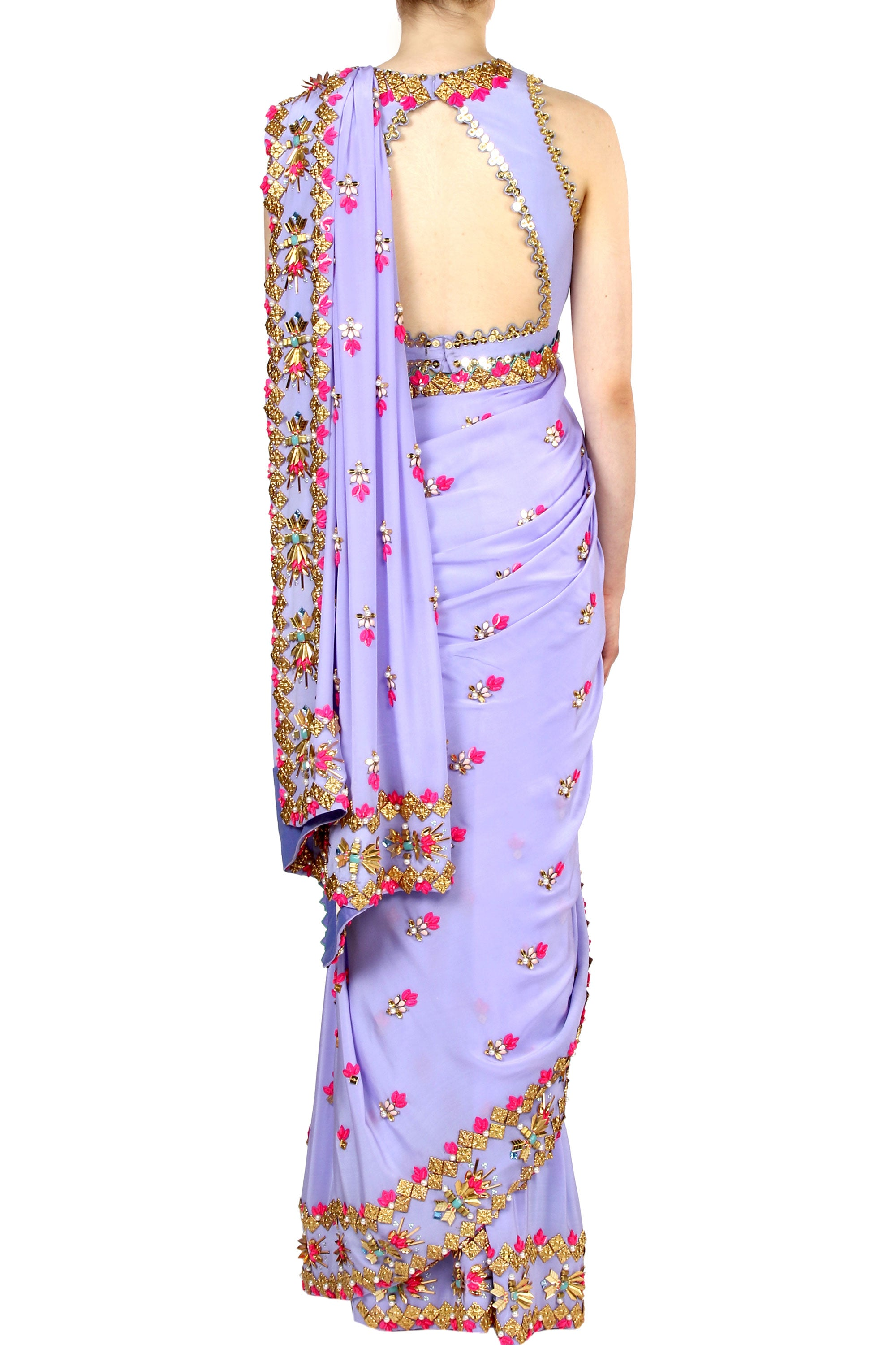 Periwinkle Lilac Saree Back