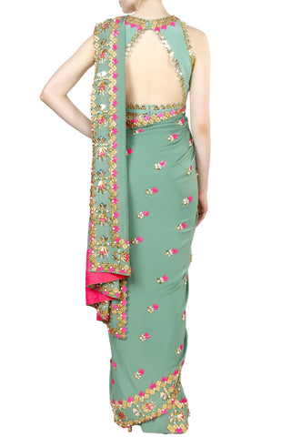 Jade Green Saree And Blouse Set
