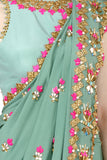 Jade Green Saree And Blouse Set Closeup