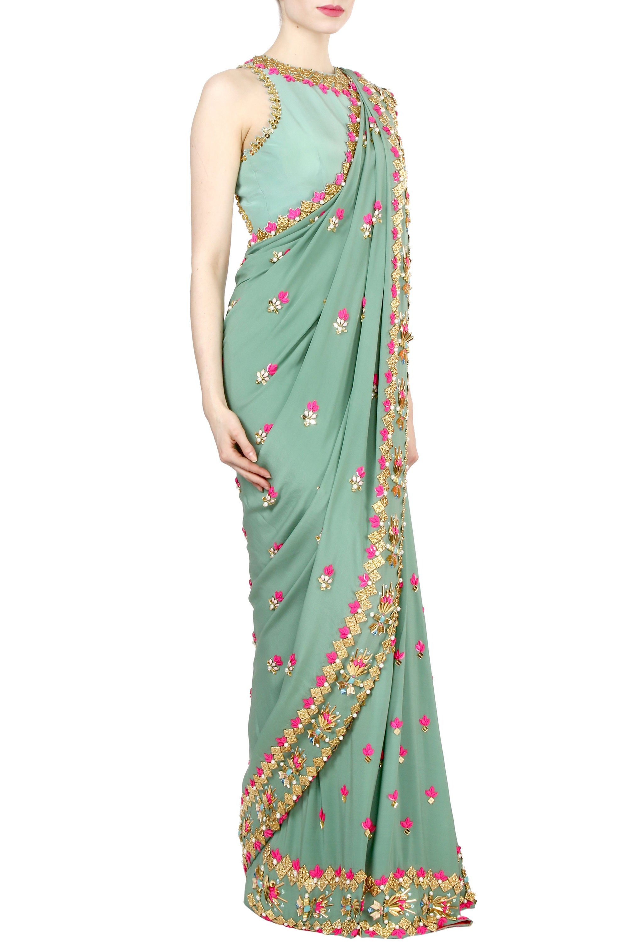Jade Green Saree And Blouse Set Side