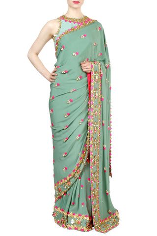 Jade Green Saree And Blouse Set Front