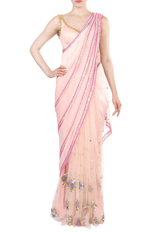 Blush Pre-Stitched Saree Front