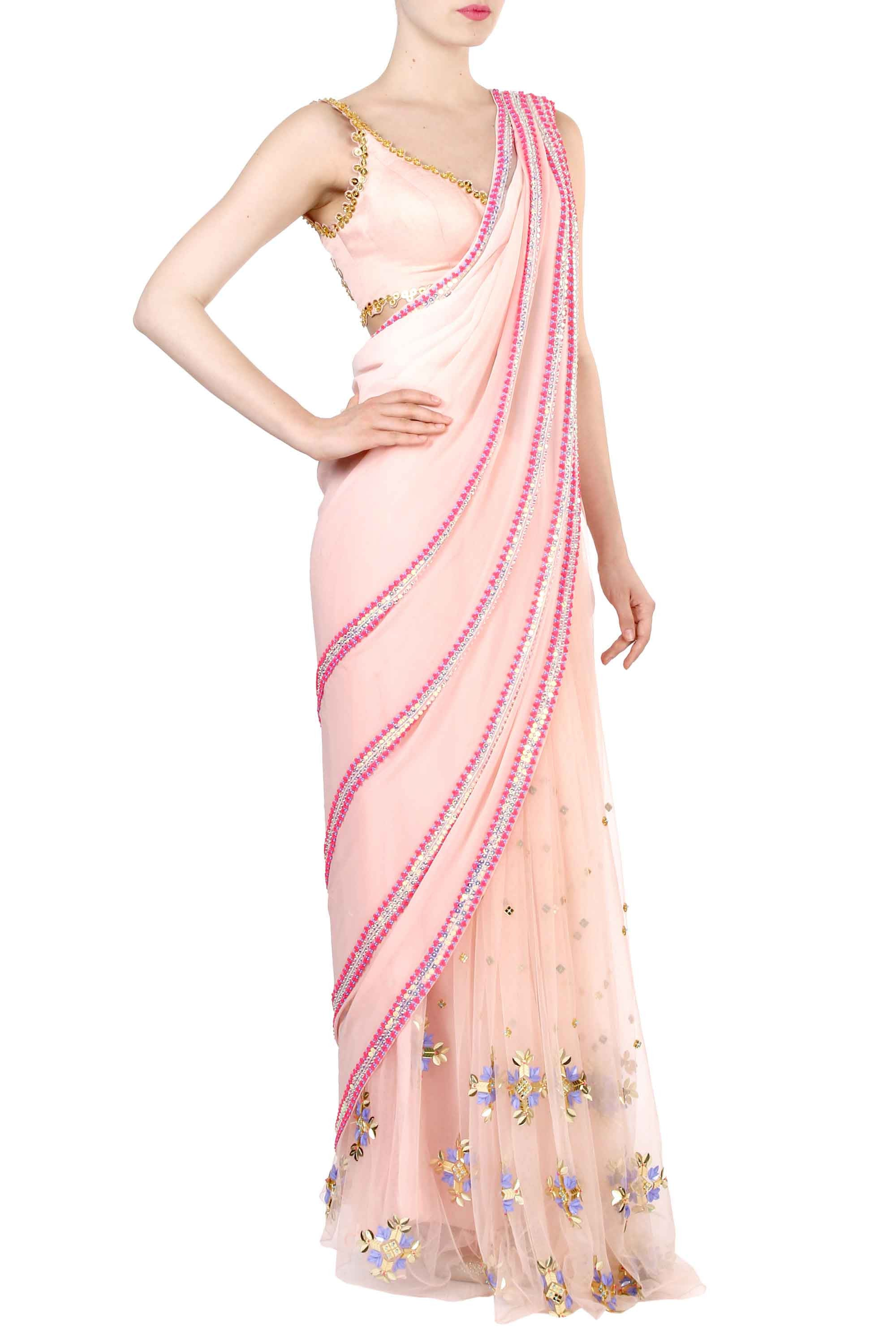 Blush Pre-Stitched Saree Side