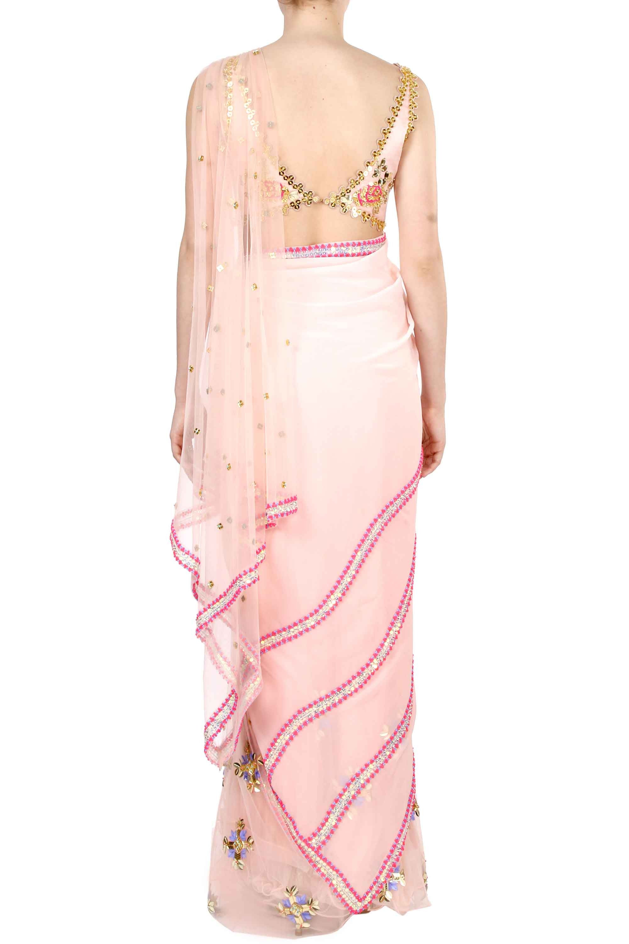 Blush Pre-Stitched Saree Back