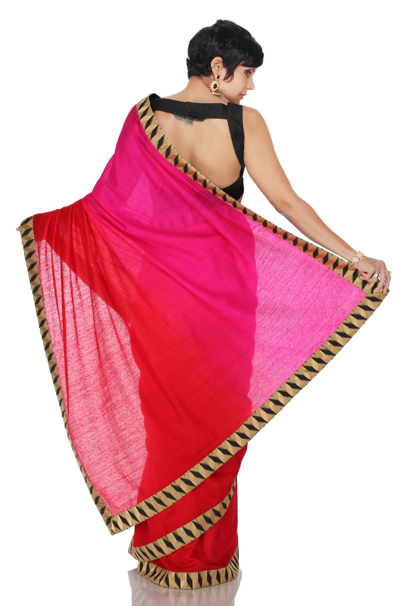 Pink to Red Ombre Saree Back