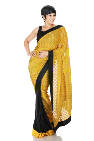 Yellow Brocade Saree Front