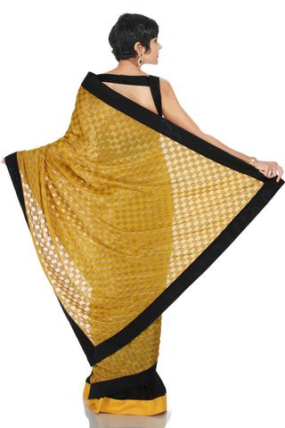 Yellow Brocade Saree