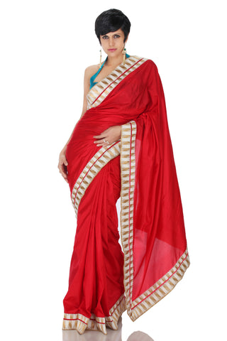 Red & White Silk Saree Front