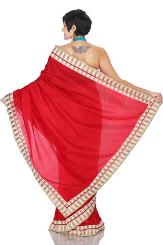 Red & White Silk Saree