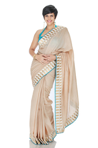 Truffle Cream Silk Saree Front
