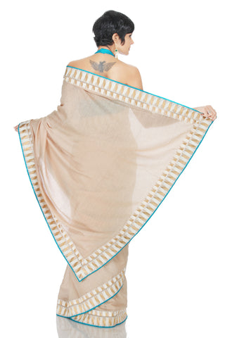 Truffle Cream Silk Saree