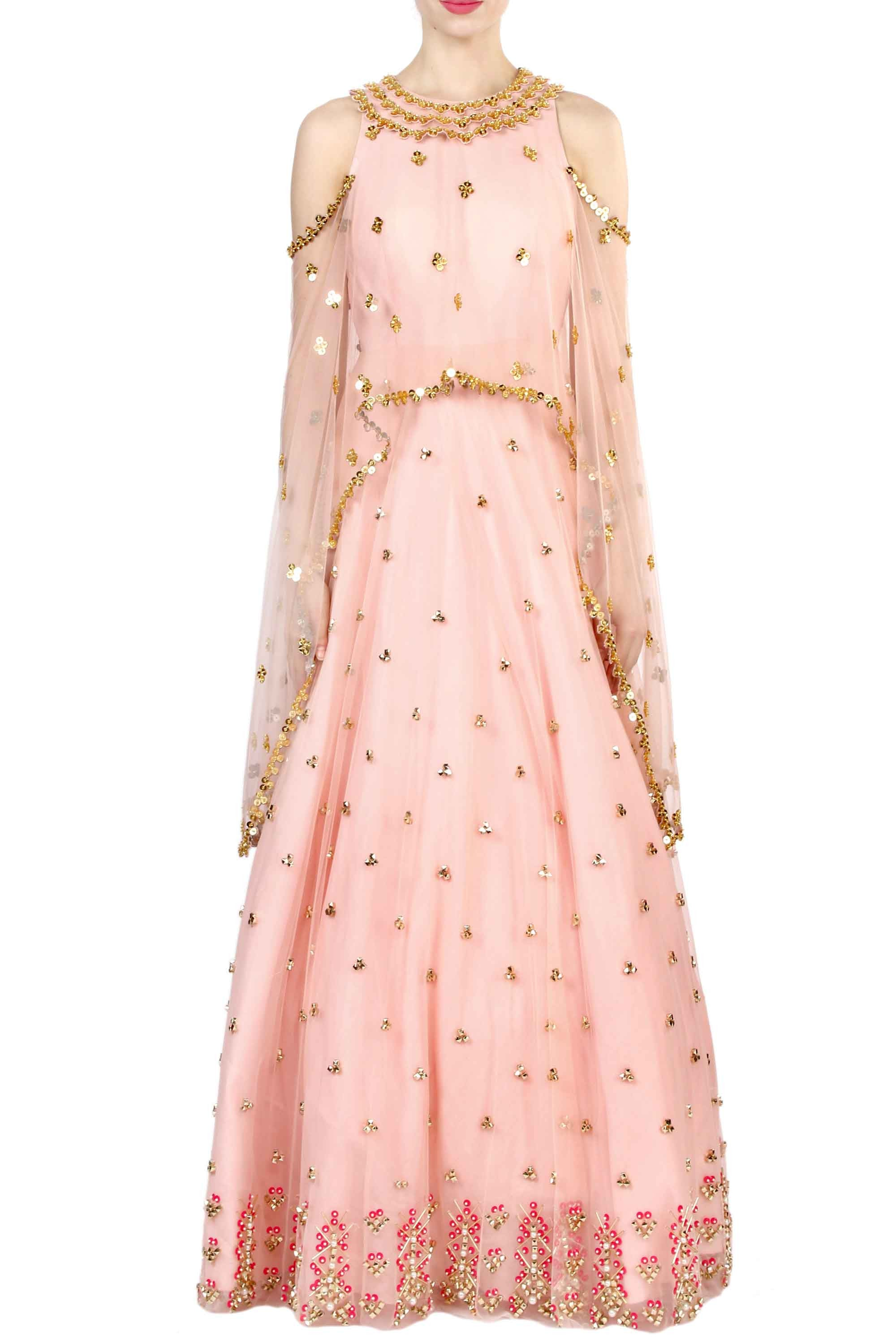 Peach Aztec Embroidered Anarkali Front
