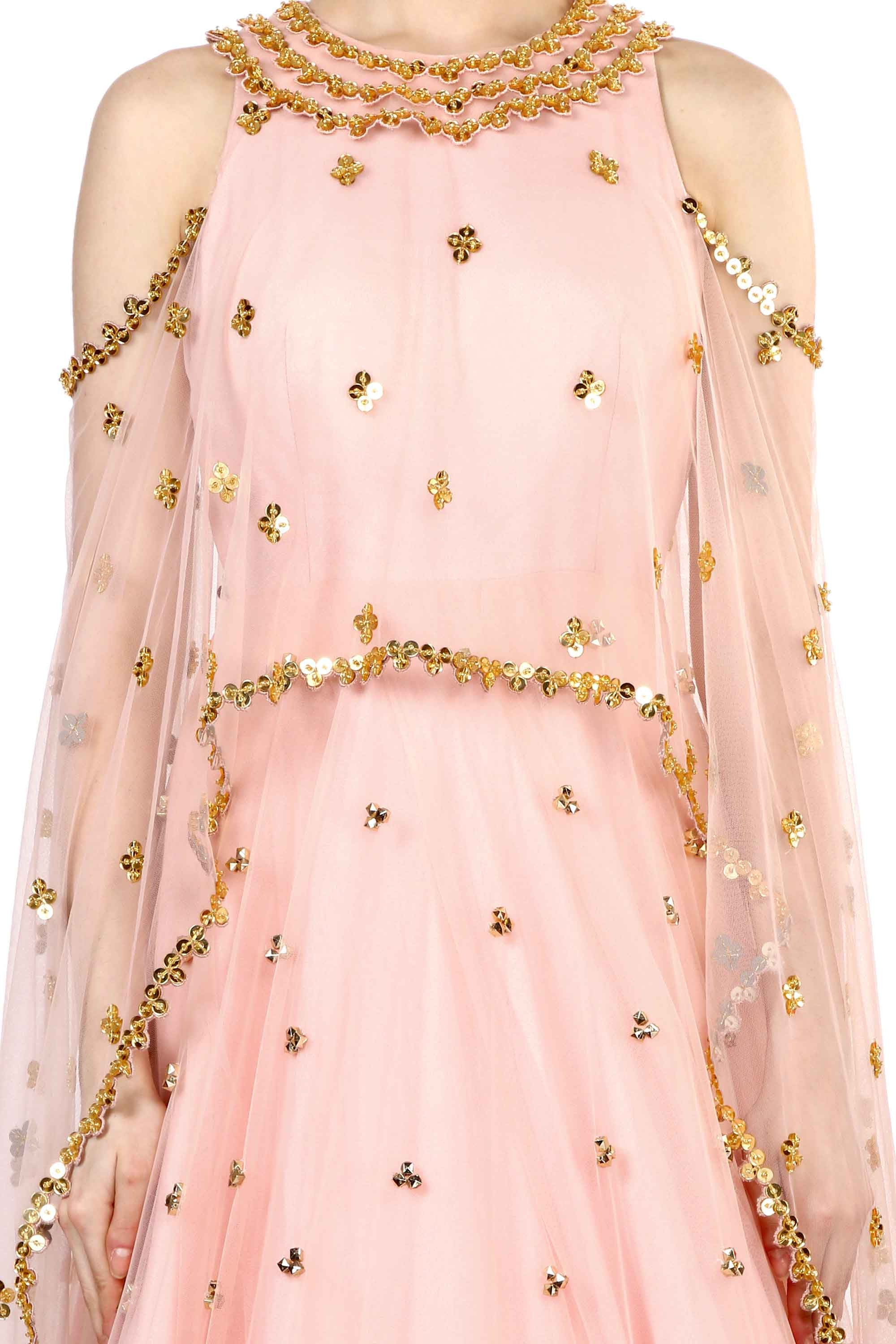 Peach Aztec Embroidered Anarkali Closeup