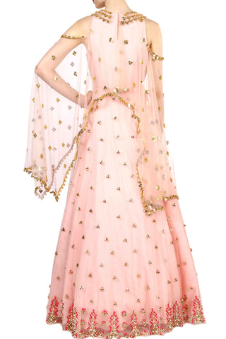 Peach Aztec Embroidered Anarkali