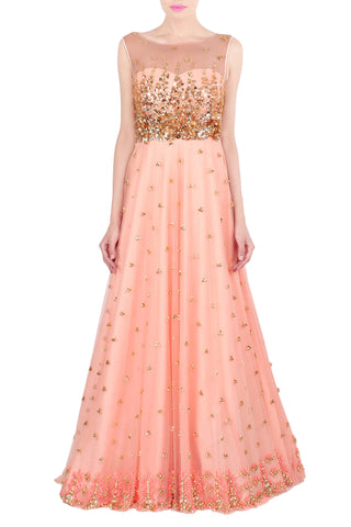 Peach Gown with Aztec Embroidery Front