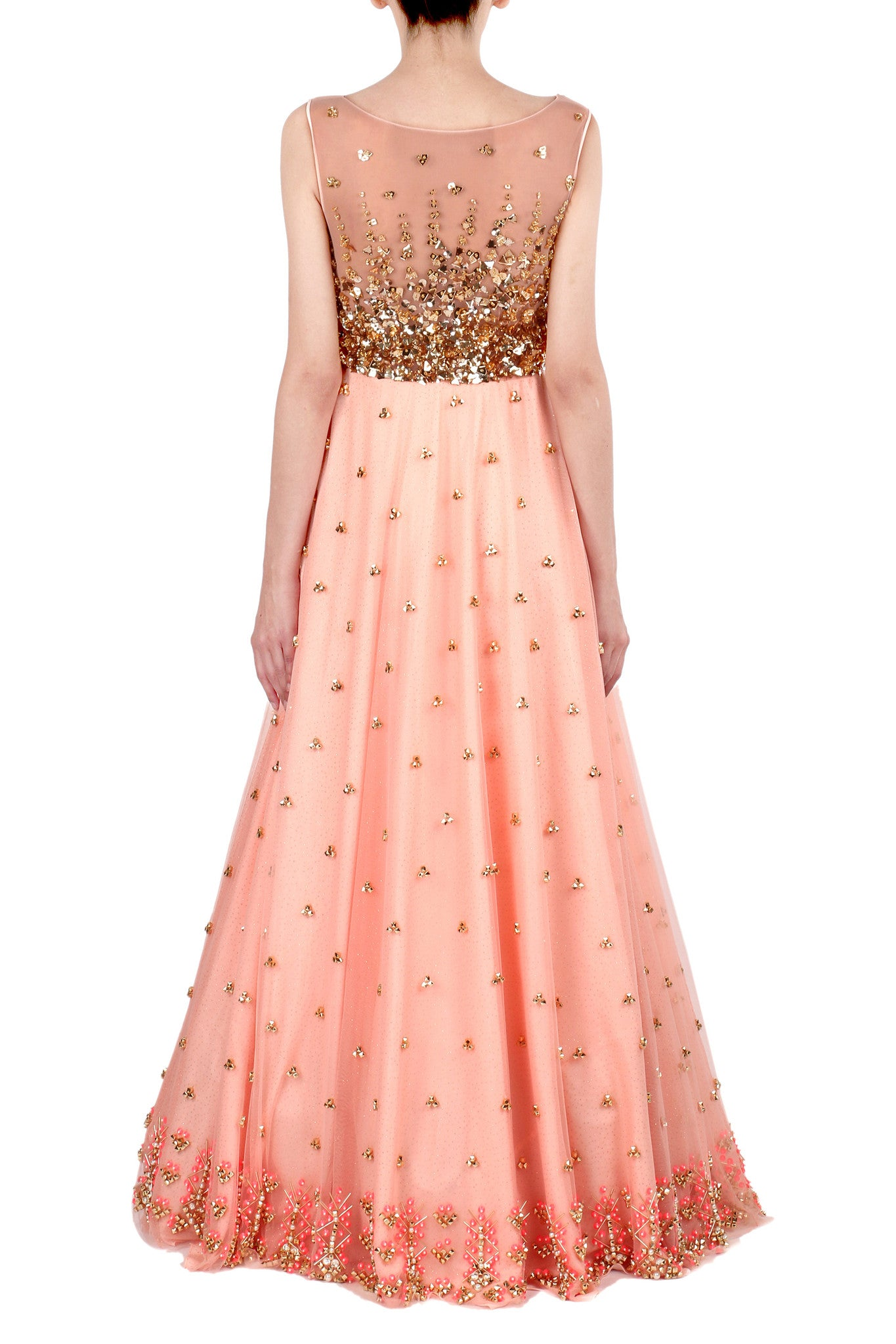 Peach Gown with Aztec Embroidery Back