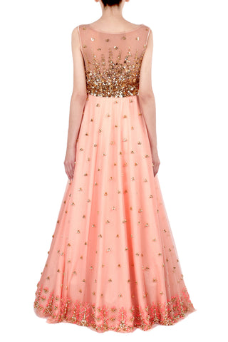 Peach Gown with Aztec Embroidery