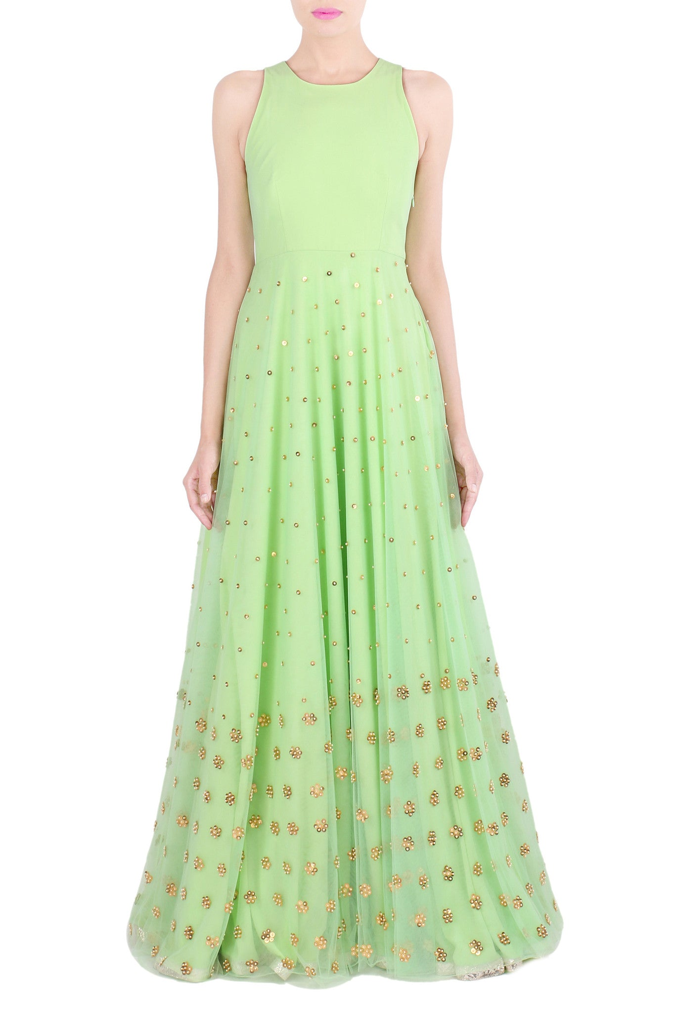 Mint Gown with Gold Metallic Work | VIVA-LUXE