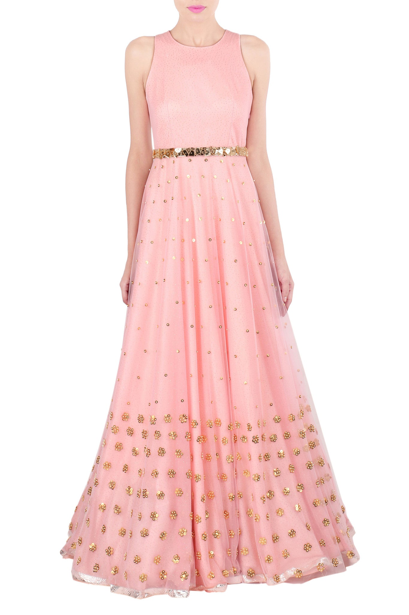 Blush Pink Gown with Gold Metallic Coin Work Front