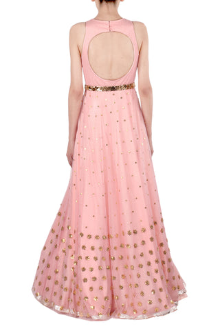 Pink Gown with Gold Metallic Work
