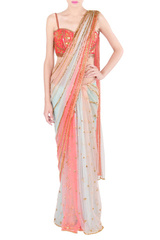 Coral and Ice Blue Panel Saree