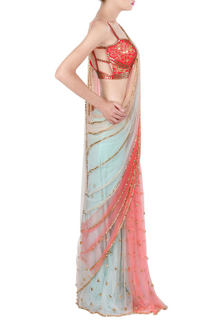 Coral & Ice Blue Panel Saree