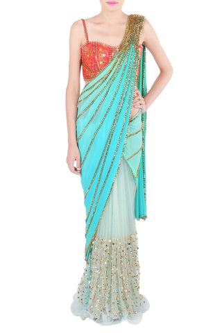 Aqua and Orange Saree Front