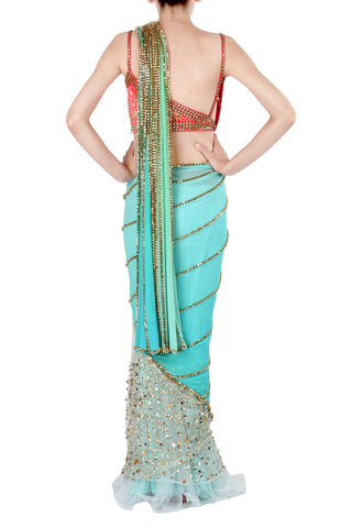 Aqua Saree with Orange Blouse