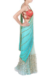 Aqua and Orange Saree Side