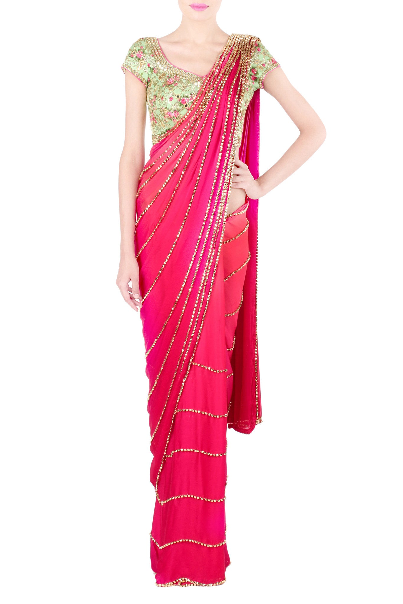 Pink and Lime Saree Front