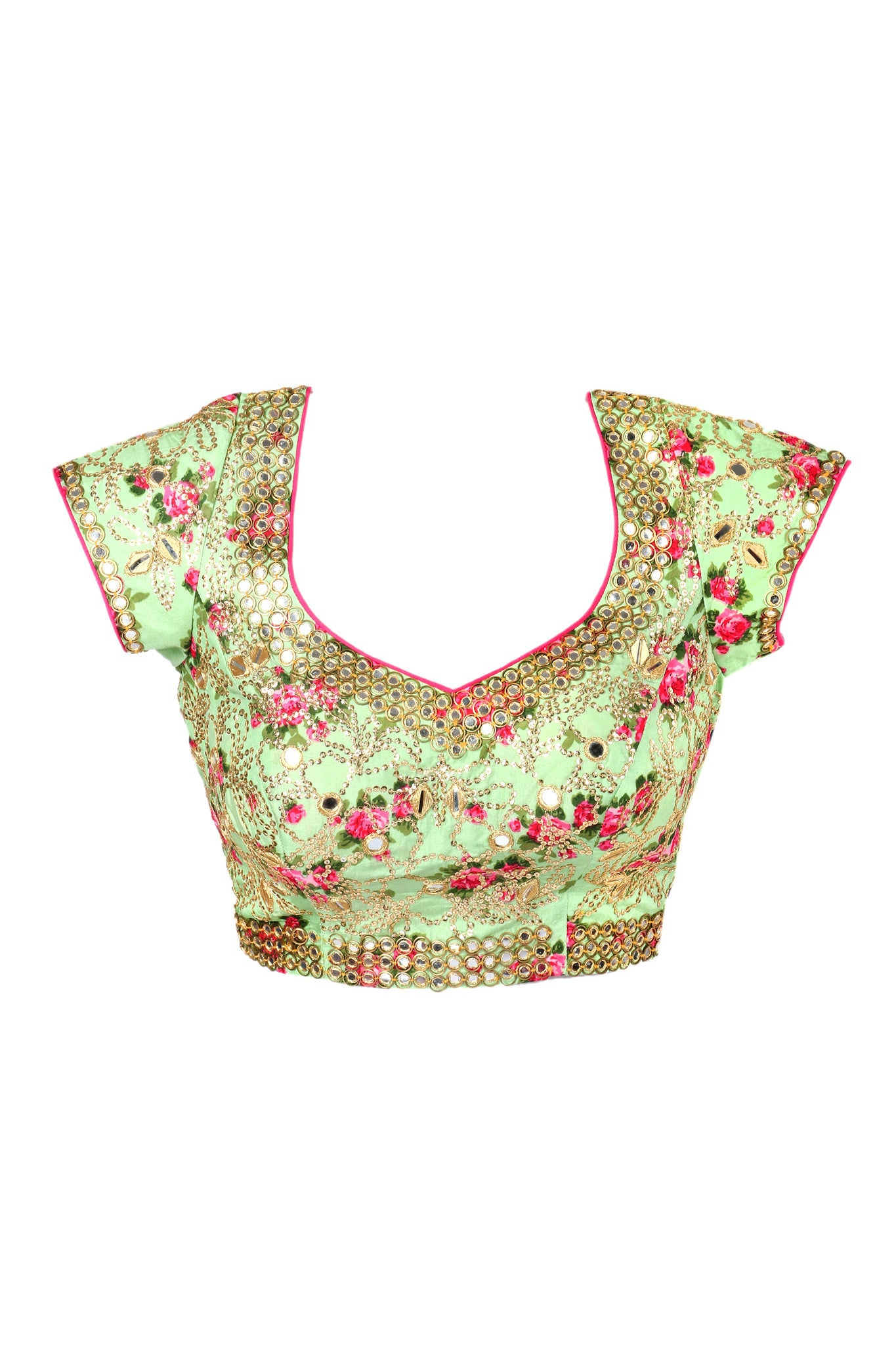 Floral Lime Blouse Close Up