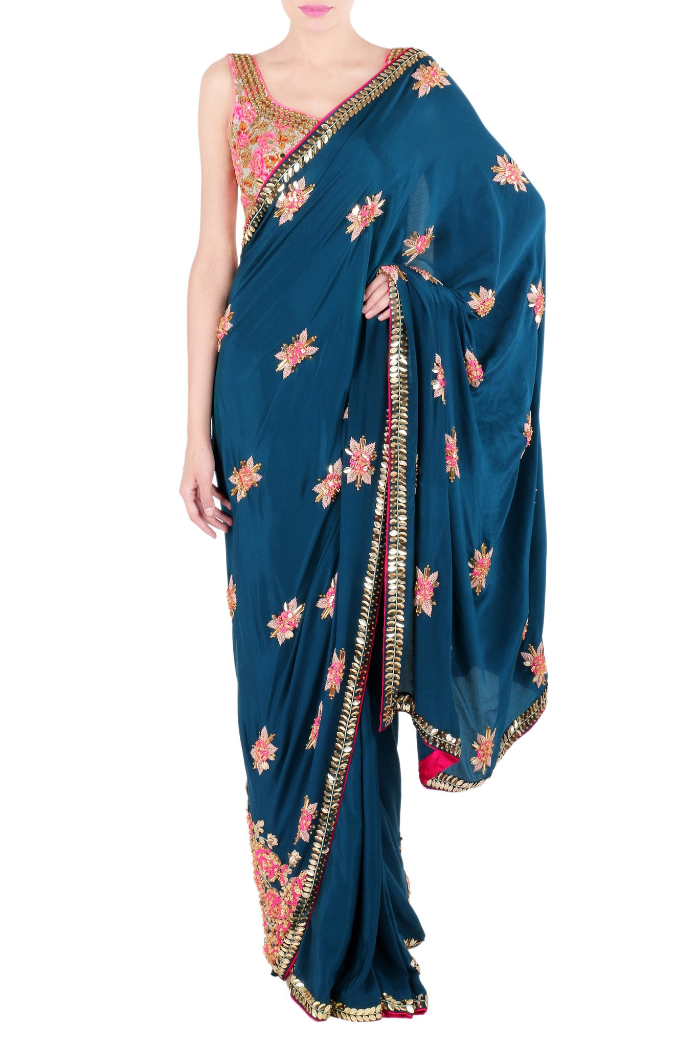 Sapphire Blue Crepe Saree with Rose Motifs