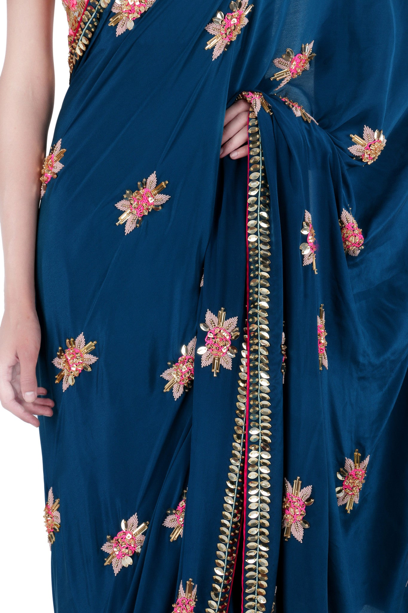 Sapphire Blue Crepe Saree with Rose Motifs Close-Up