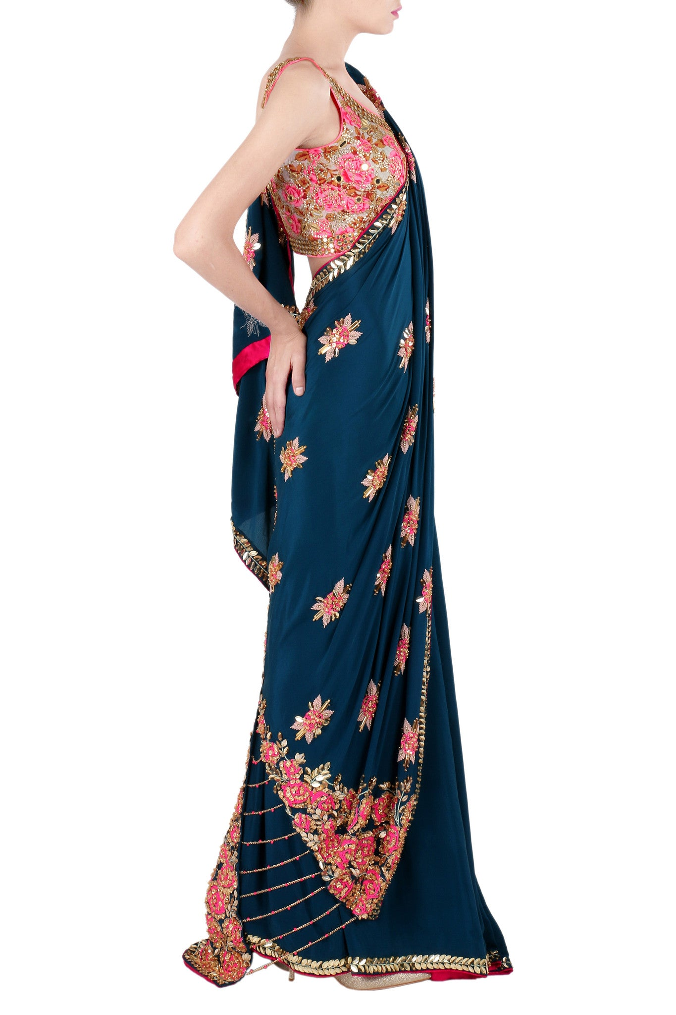 Sapphire Blue Crepe Saree with Rose Motifs Side