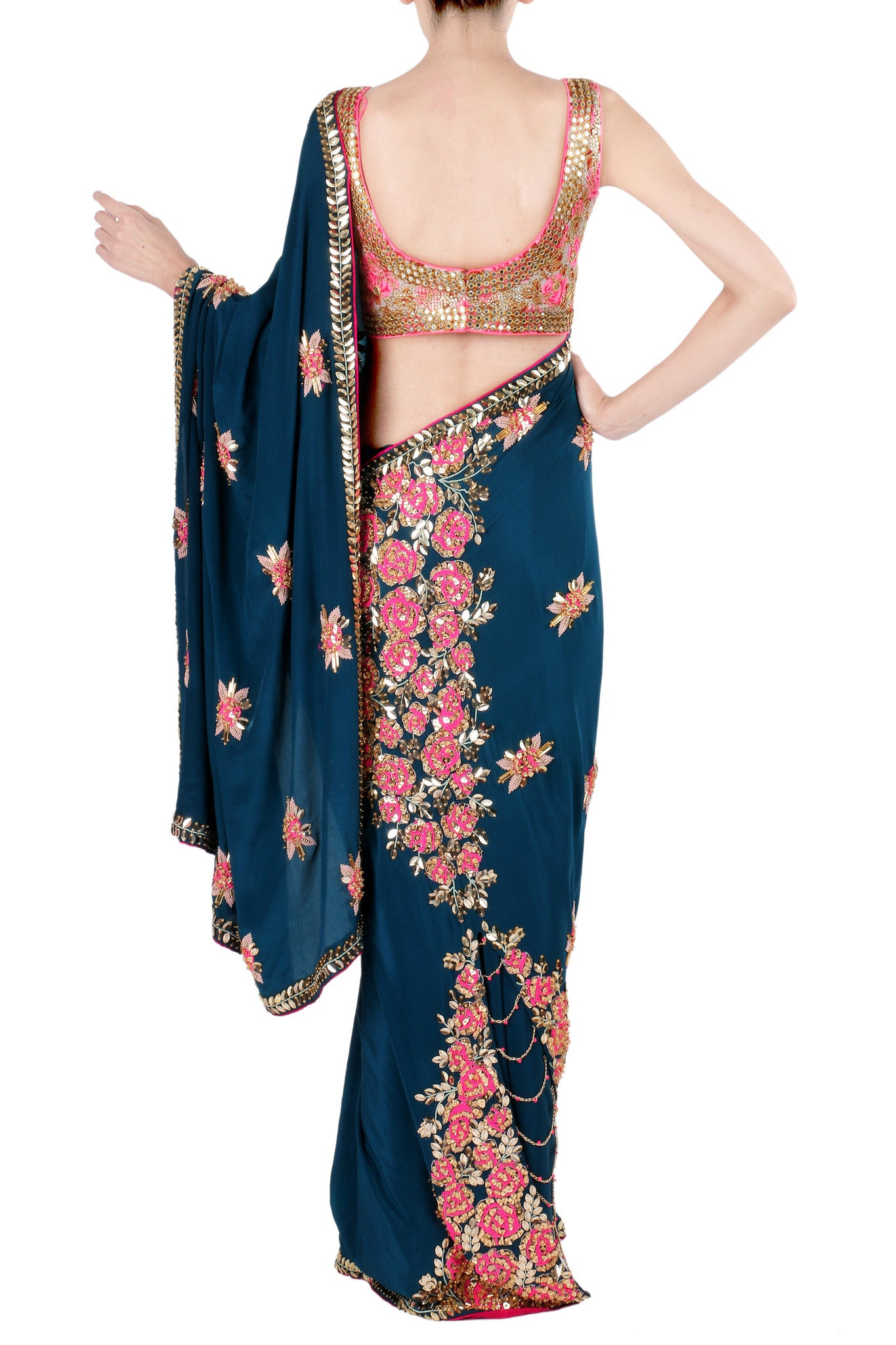 Sapphire Blue Crepe Saree with Rose Motifs Back