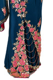 Sapphire Blue Crepe Saree with Rose Motifs Bottom Close-Up