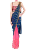 Navy Blue Saree & Hot Pink Blouse Front
