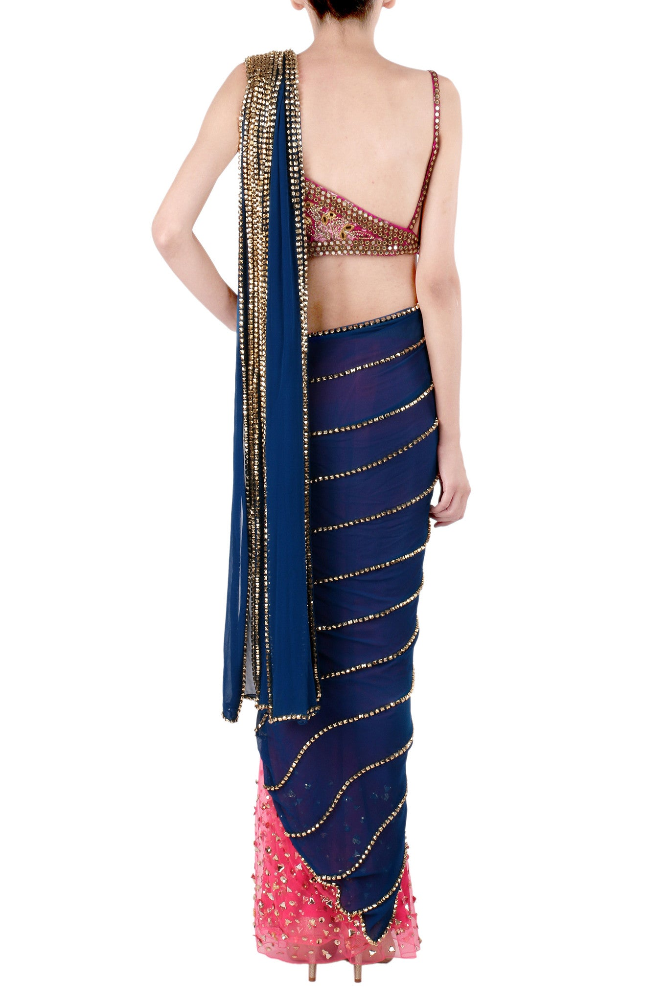 Navy Blue Saree & Hot Pink Blouse Back