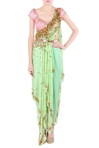 Mint Kaftan Saree Front