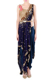 One Shoulder Blue Kaftan Saree Front
