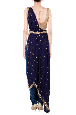 One Shoulder Blue Kaftan Saree