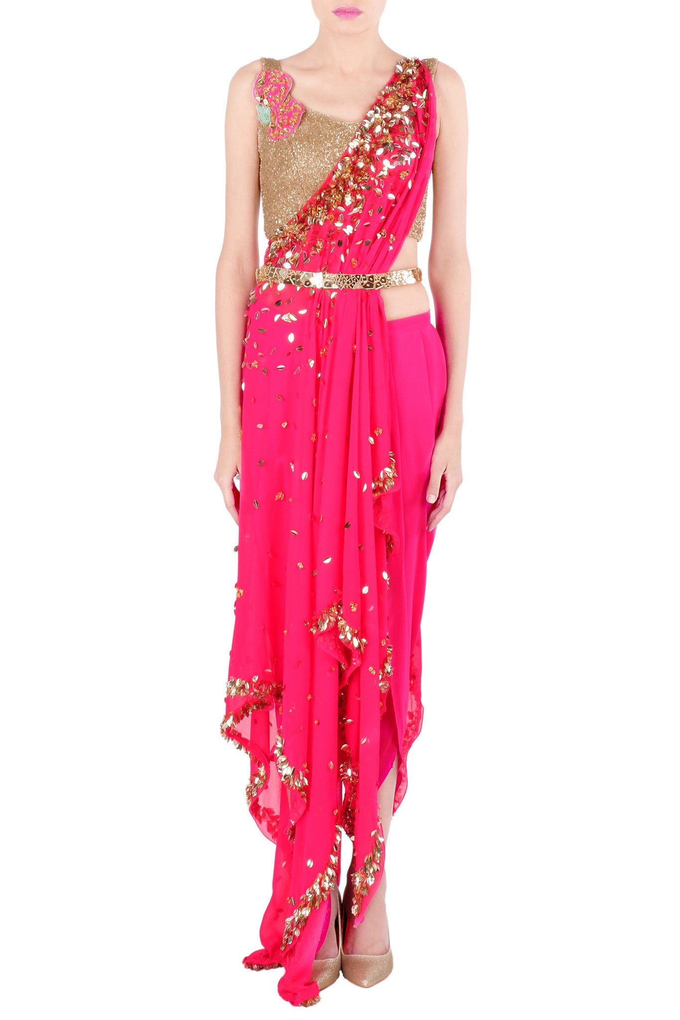 One Shoulder Hot Pink Kaftan Saree Front