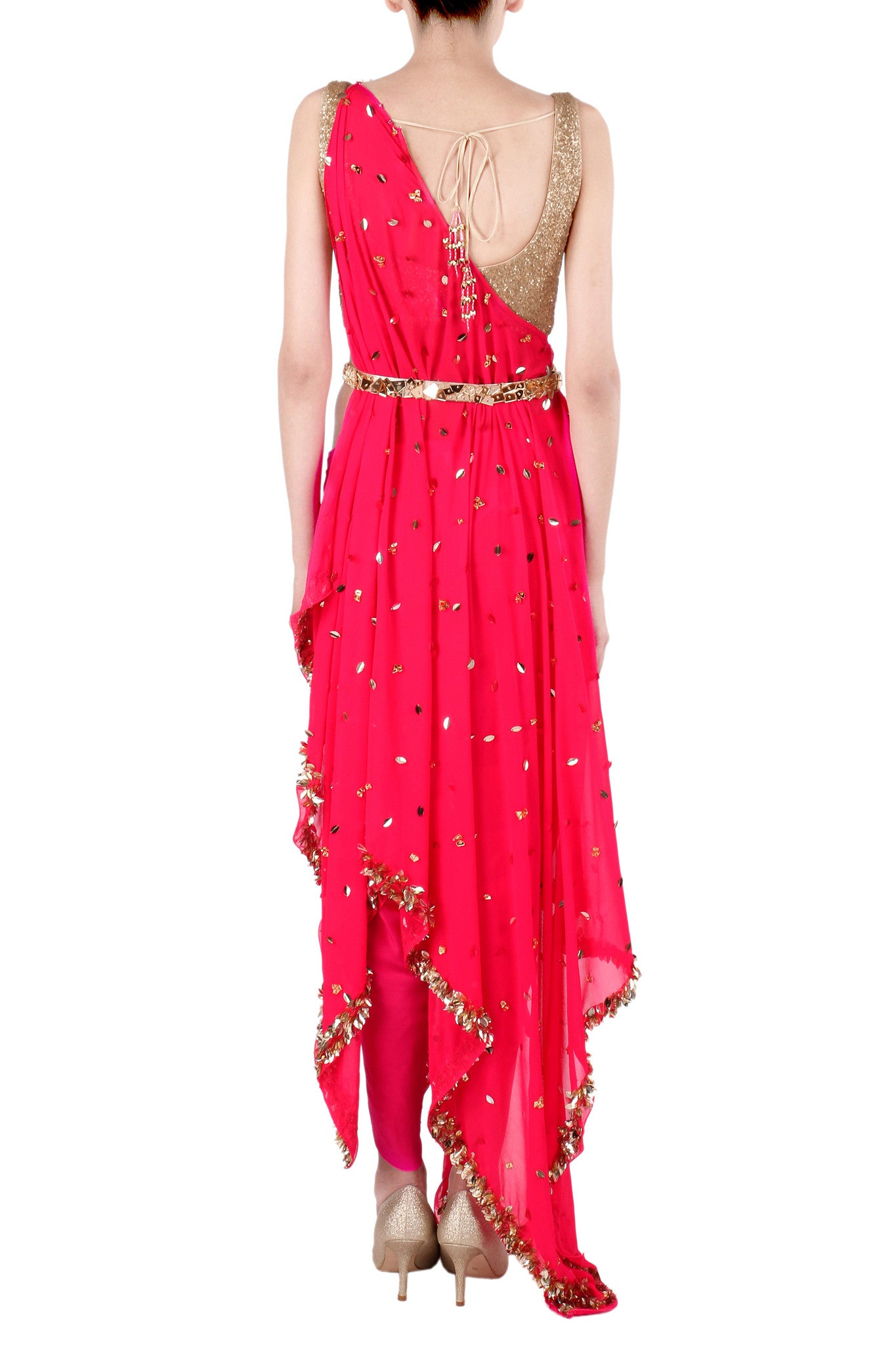 One Shoulder Hot Pink Kaftan Saree Back
